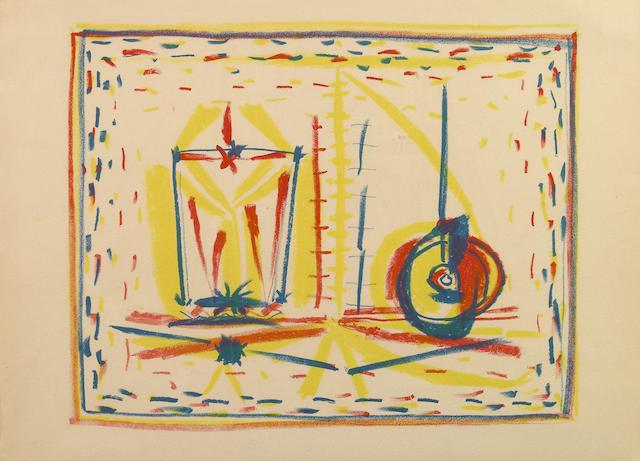 Pablo Picasso (Spanish, 1881-1973); Composition au Verre et la Pomme; (3)