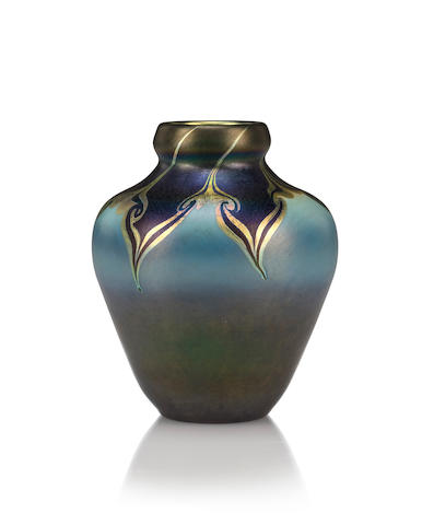 A Tiffany Studios decorated Favrile glass vase circa 1905