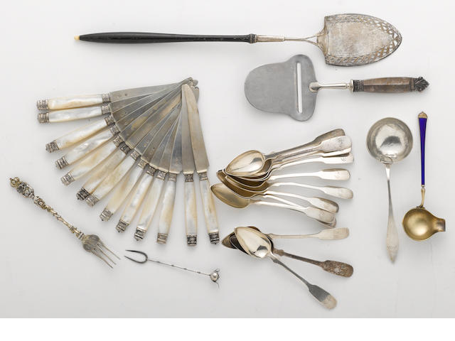 A group of foreign silver flatware