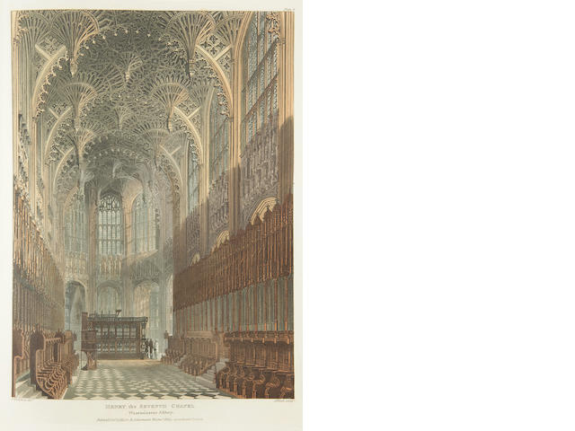 ACKERMANN, RUDOLPH, publisher. The History of the Abbey Church of St. Peter's Westminster, Its Antiquities and Monuments. London: R. Ackermann, 1812.<BR />