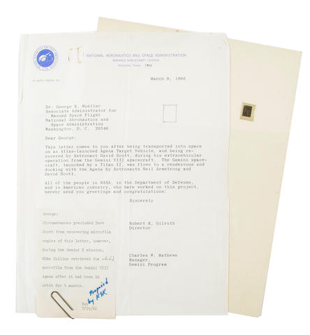 LETTER FLOWN ON GEMINI 10? Microfilm letter possibly flown into orbit on an Agena Target Vehicle and retrieved by Michael Collins during Gemini 10, together with related correspondence.