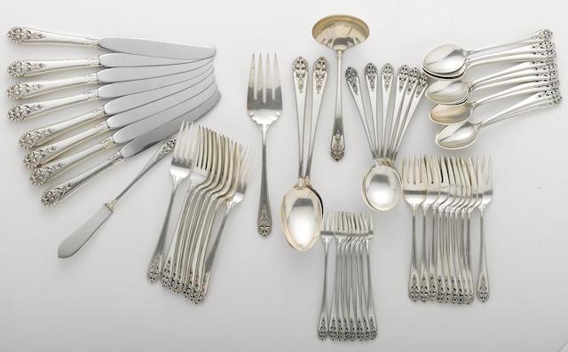 A sterling flatware set International Silver Co., Meriden, CT  Queen's Lace  (57)