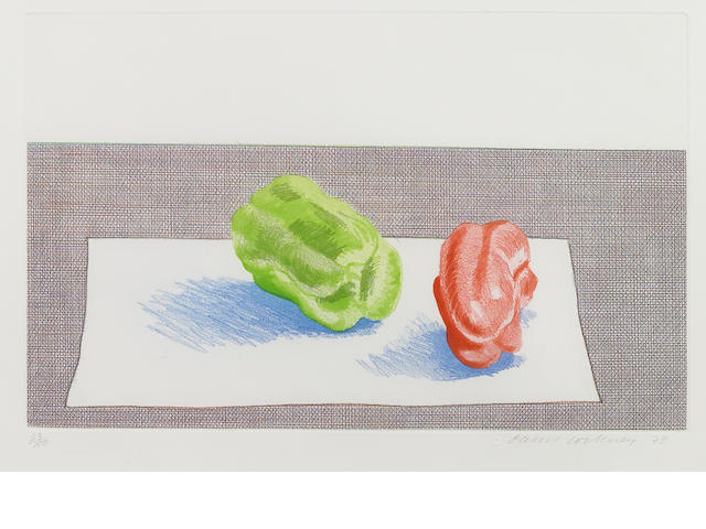 David Hockney (British, born 1937); Two Peppers;
