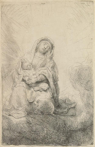Rembrandt Harmensz van Rijn (Dutch, 1606-1669); The Virgin and Child in the Clouds;