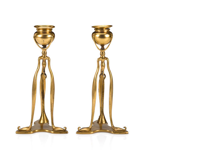 A Pair of Tiffany Studios Candlesticks