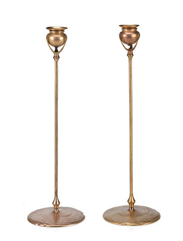 A Pair of Tiffany Studios gilt-bronze candlesticks