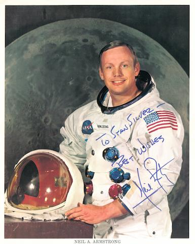 ARMSTRONG IN HIS SPACE SUIT. Color photolithograph,