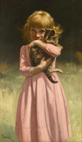 John Henry Dolph, Best Friends, oil on canvas, signed lower left, 24 x 14in.