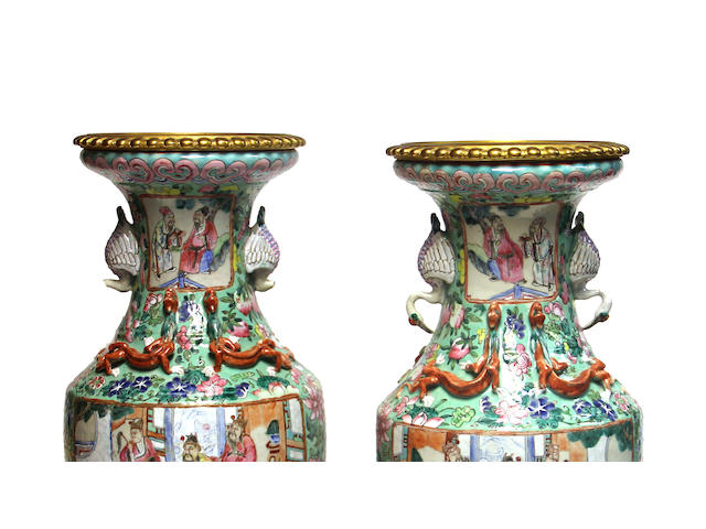 A pair of Chinese famille rose enameled porcelain vases with gilt metal mounts Republic period