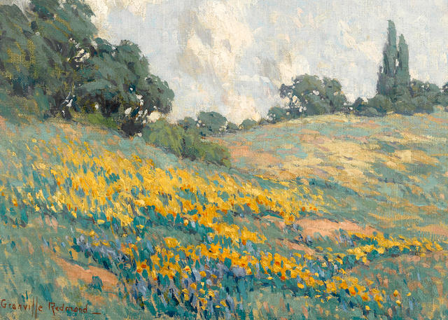 Granville Redmond (American, 1871-1935) California wildflowers on rolling hills 10 x 14in