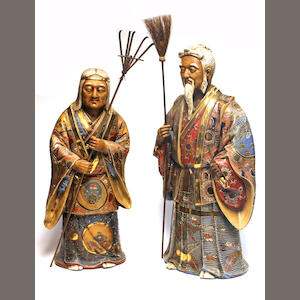 Two polychrome and gold painted ceramic figures of the Takasago couple  20th century