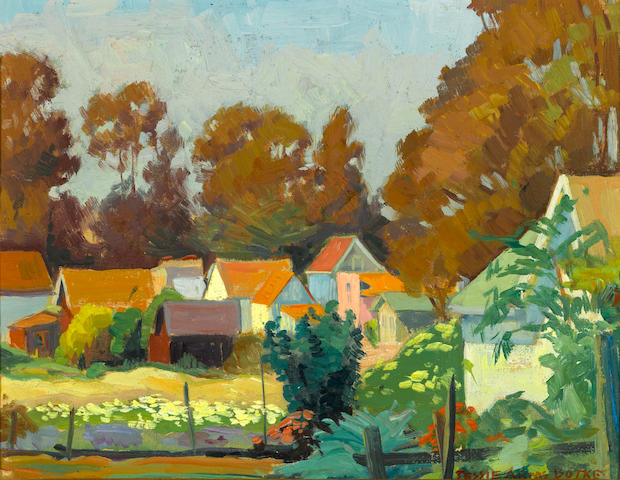 Jessie Arms Botke (American, 1883-1971) Houses 8 x 10in