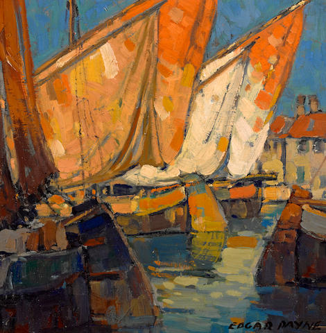 Edgar Payne (1883-1947) Sailboats docked at Brittany 14 1/4 x 14 1/4in