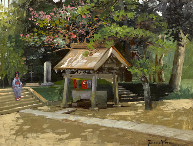 Theodore Wores (1859-1939) A font of purification, Kamakura, Japan 9 1/4 x 12 1/4in