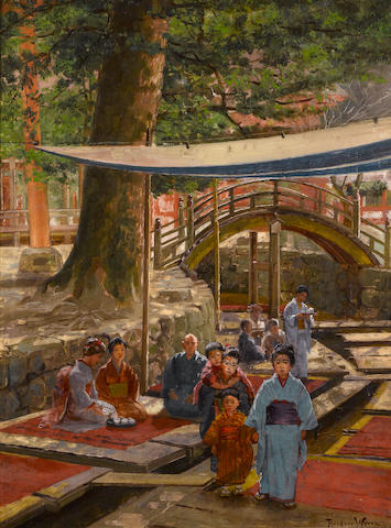 Theodore Wores (1859-1939) A temple garden in Kyoto, 1896 22 x 16 1/2in