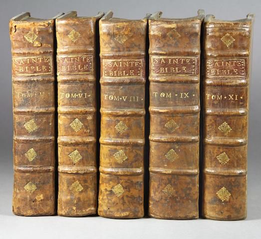 BIBLE IN FRENCH. La Sainte Bible. Paris: Gabriel Martin, J.B. Coignard & Ant. Boudet, Pierre-Jean Mariette, Hippolyte-Louis Guerin, 1748-1750.