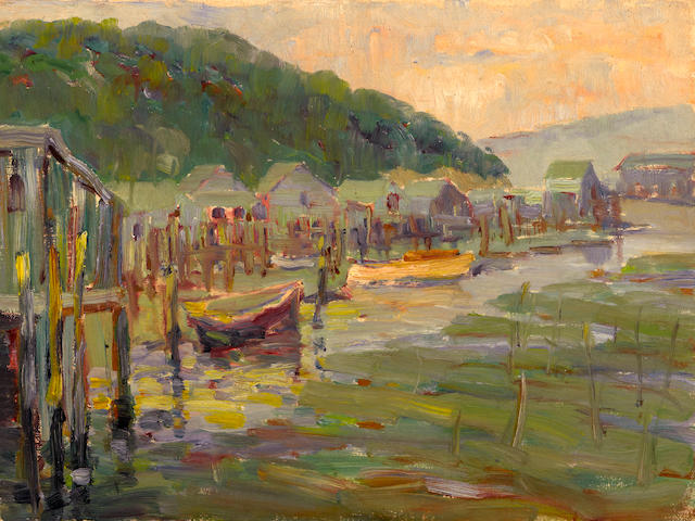 Selden Connor Gile (American, 1877-1947) Houseboats, Tiburon, California 12 x 16in unframed