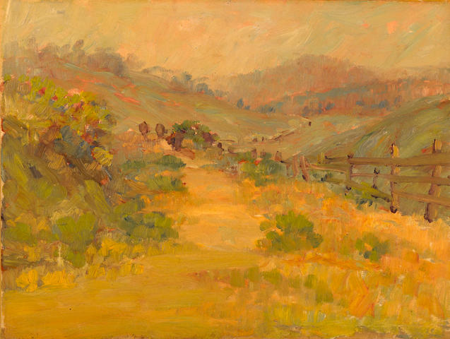 Selden Connor Gile (American, 1877-1947) Fence along a hillside 12 x 16in