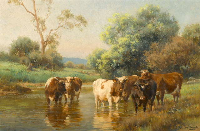 Jan Hendrik Scheltema (Australian, 1861-1938) Cows watering in a stream 17 x 26in