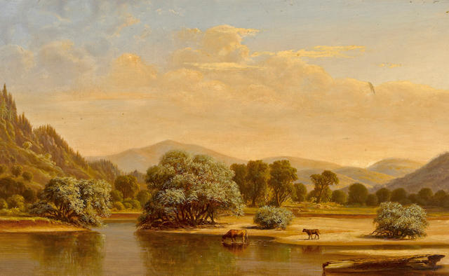 William Lewis Marple (American, 1827-1910) Cattle watering with rolling hills beyond, 1867 16 x 26in