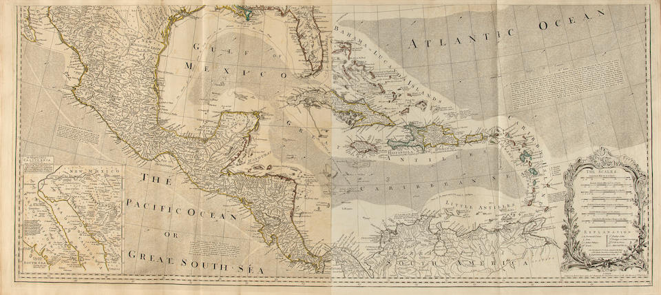 JEFFERYS, THOMAS. 1719-1771. The American Atlas: or, a geographical description of the whole continent of America: wherein are delineated at large its several regions, countries, states, and islands; and chiefly the British Colonies. London: Printed and sold by R. Sayer and J. Bennett, 1776.