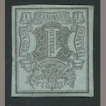 Hannover, 1850 1g g Black on Gray Blue (1) part o.g., very fine, retail $4,000.00 Mi.1 E5000, Grobe handstamp
