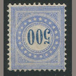 Forgery, Switzerland, Postage Due 1882-83 500c Ultramarine on Granite Paper (J14) o.g., finely centered, An absolutely fantastic and notorious example with the granite lines expertly painted in.