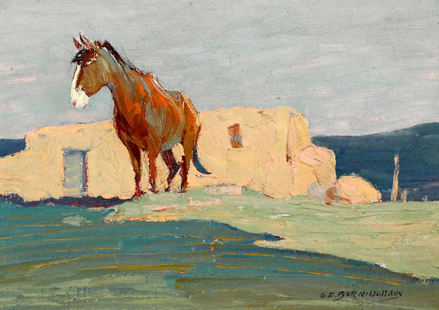 Oscar Edmund Berninghaus (American, 1874-1952) Little burro 6 1/2 x 9in