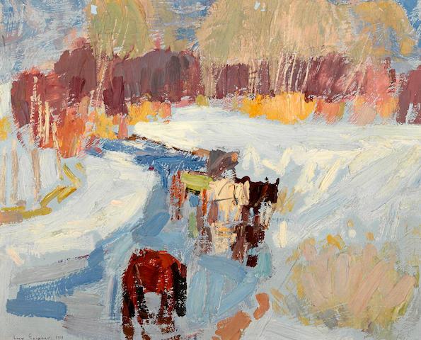 Leon Schulman Gaspard (Russian/American, 1882-1964) Horses in winter, Taos, 1919 10 3/4 x 14in