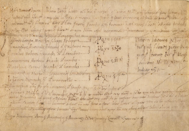 VESPUCCI FAMILY. VESPUCCI, ANTONIO. 1453-1515. Autograph Document Signed, 1 p, on vellum, oblong 8vo, [Florence], 1st January, 1514, matted and framed with engraved placard.