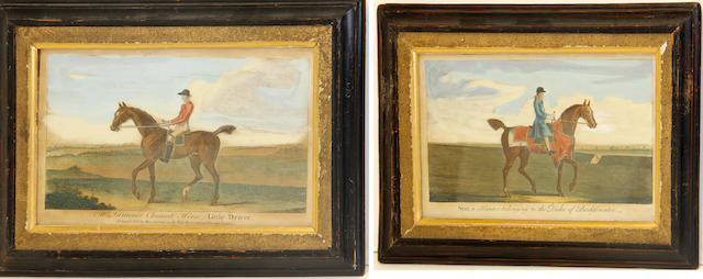 A framed pair of English equestrian hand colored prints