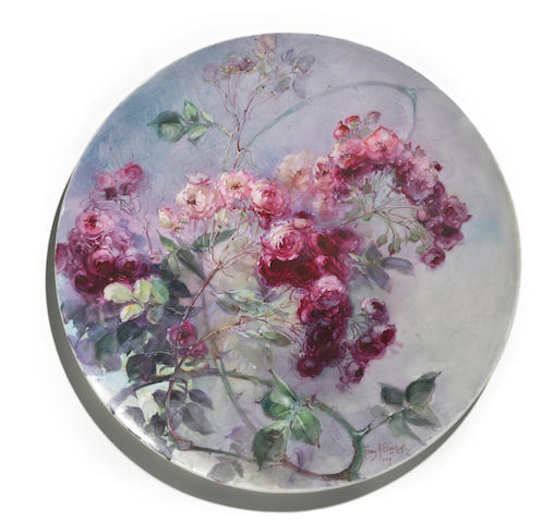 Franz Arthur Bischoff (American, 1864-1929) Charger with sprays of climbing roses, 1909 diameter: 15 3/4in