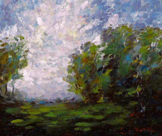 Euphemia Charleton Fortune (American, 1885-1969) Carmel landscape 10 1/4 x 12 1/4in