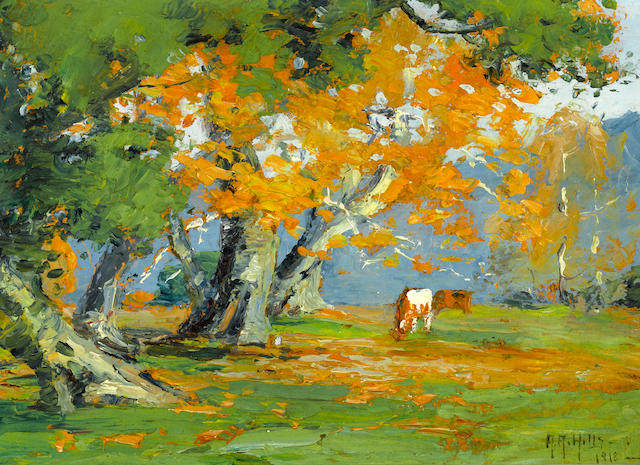 Anna Althea Hills (American, 1882-1930) Live oaks and sycamores, 1918 7 x 10in