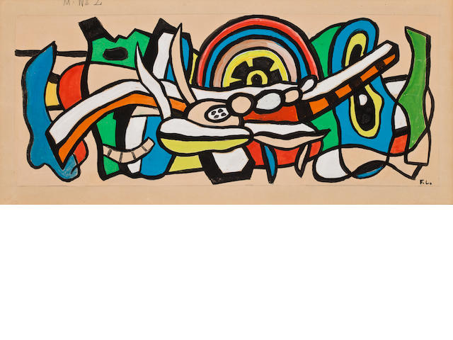 Fernand Leger<BR />Mural Study #2<BR />gouache on paper<BR />11 x 24 inches (for authentication only)