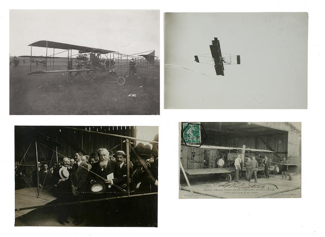 GLENN CURTISS WINS SPEED RACE, AUGUST 1909. Group of 3 black and white photographs,