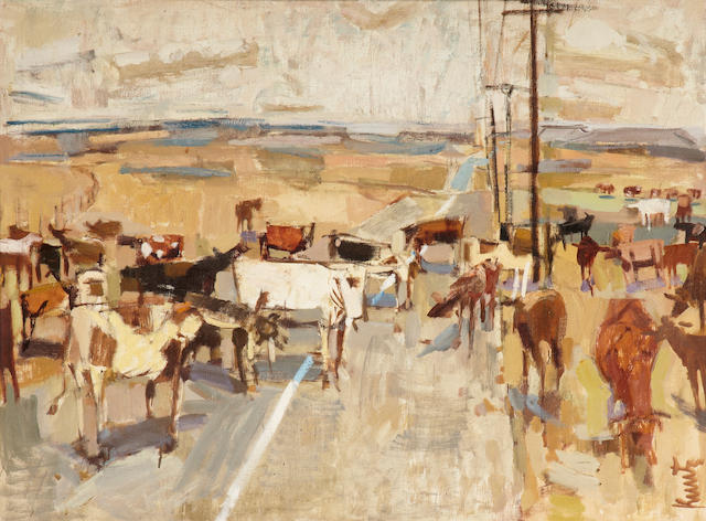 Roger Kuntz (1926-1975) Arizona Cattle 30 x 40in