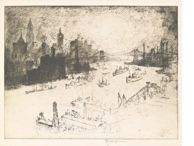 Joseph Pennell (American, 1857-1926); Sunset, from Williamsburg Bridge;