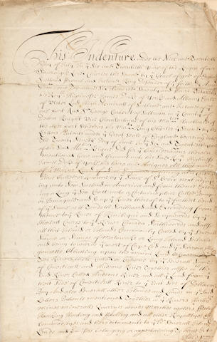 17th CENTURY COLONIAL CHARTERS AND DOCUMENTS. Collection of 5 Documents relating to Sir George Cartwright as Commissioner to Charles II, and to Sir Edmund Andros, Governor of New England.