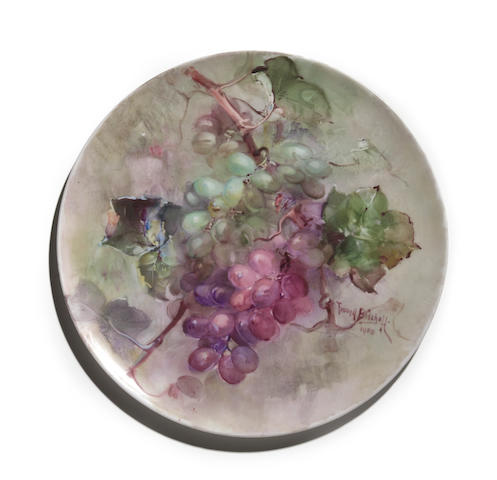 Franz Arthur Bischoff (American, 1864-1929) Charger with green and purple grapes, 1908 diameter: 11 3/4in