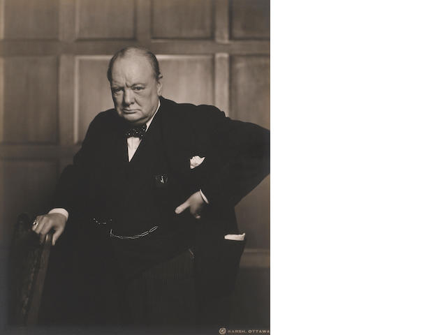 Yousuf Karsh (U.S., 1908-2002) Winston Churchill, 1941, Gelatin silver print, 10 x 8 inches, Signed in pencil on recto,