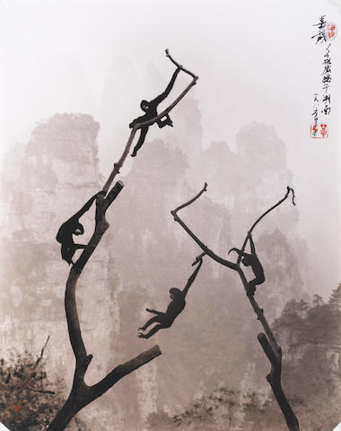 Don Hong-Oai (1929-2004) Gibbons At Play, Tianzi Mountain, 1986 / Printed circa 1990's,  Gelatin silver print, 11 x 14 inches; Signed with calligraphy & red signature chop on recto; signed in pencil with artist's copyright stamp on verso, P65-40