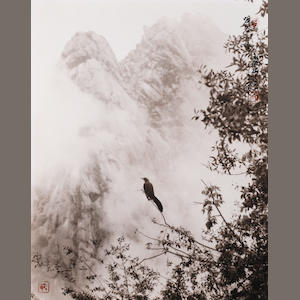 Don Hong-Oai (1929-2004) Echo in the Valley, Yellow Mountain, c.  1990's / Printed circa 1990's,  Sepia-toned gelatin silver print, 14 x 11 inches.  Signed with calligraphy & red signature chop on recto; signed in pencil on verso