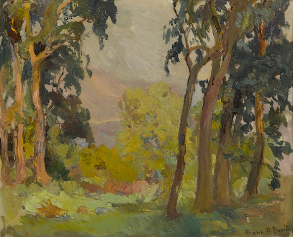 Franz Arthur Bischoff (American, 1864-1929) A grove of trees with mountains in the distance 13 1/4 x 16 1/2in