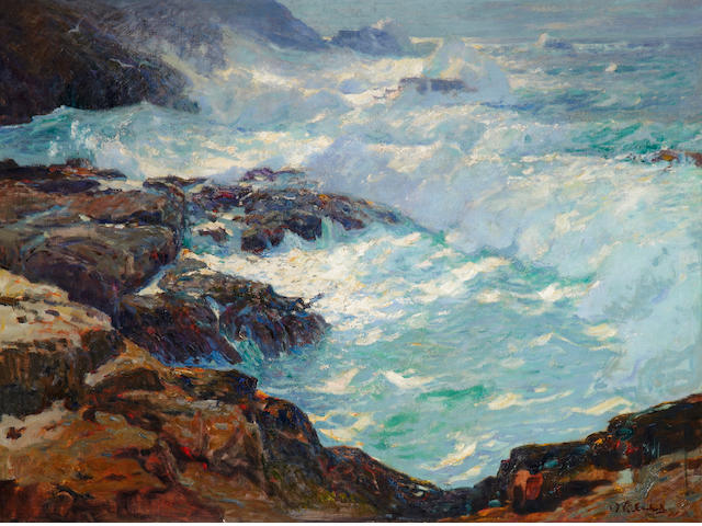William Frederick Ritschel (American, 1864-1949) Storm lashed coast 30 1/4 x 40 1/4in