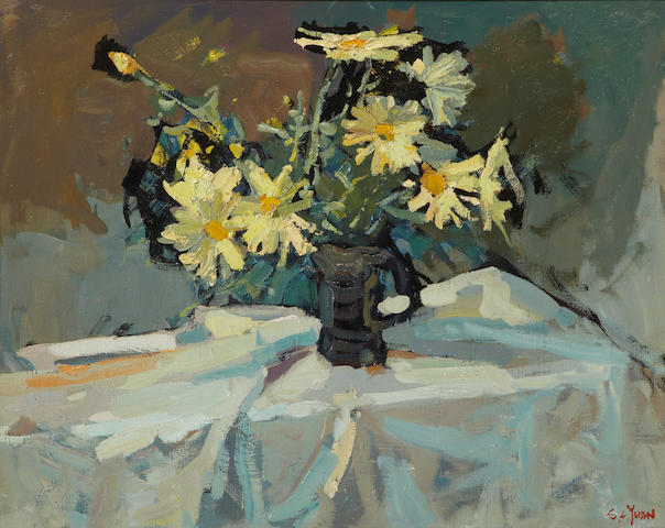 Si Chen Yuan (1911-1974) Still life with daisies in a pitcher 24 1/4 x 30 1/4in