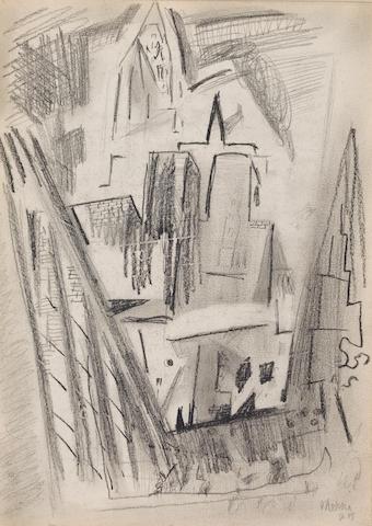 John Marin (American, 1870-1953) Brooklyn Bridge Series 11 x 8 3/8in