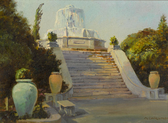 Albert Thomas DeRome (American, 1885-1959) Fountain, San Jose Water Works, Cambrian Wells, 1934 10 x 14in