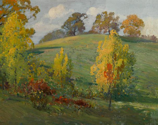 Arthur Grover Rider (American, 1886-1975) Laguna autumn 10 1/2 x 12 3/4in