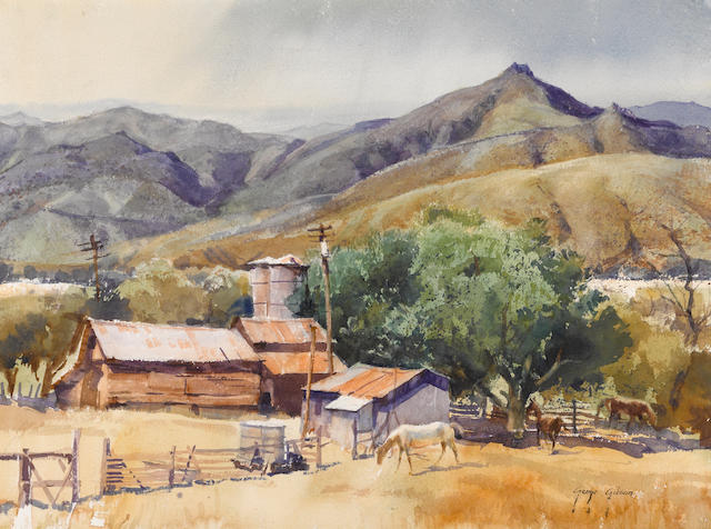 George Gibson (American, 1904-2001) Refugio Canyon Ranch, 1981 sight: 21 1/2 x 29 1/2in